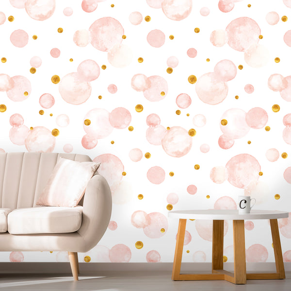 Aquarelle Circles Watercolor Removable Wallpaper