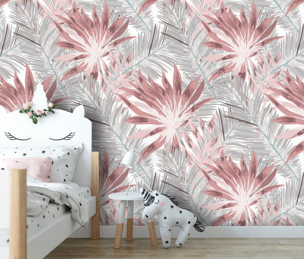 Pink Gray Flowers Removable Wallpaper