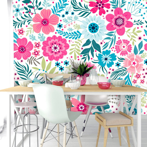 Blue Pink Flowers Removable Wallpaper