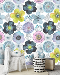 Vintage Abstract Flowers Watercolor Removable Wallpaper
