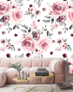 White Pink Roses Flowers Removable Wallpaper