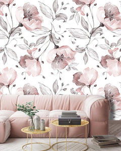Botanic Floral Roses Removable Wallpaper