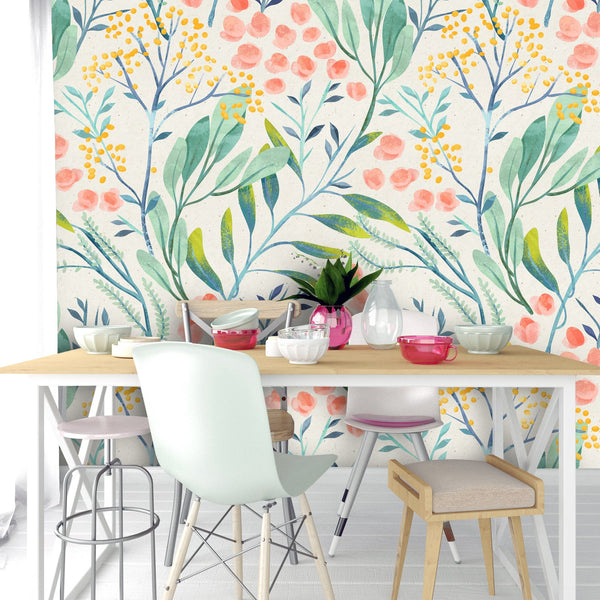 Green Peach Leaves Removable Wallpaper
