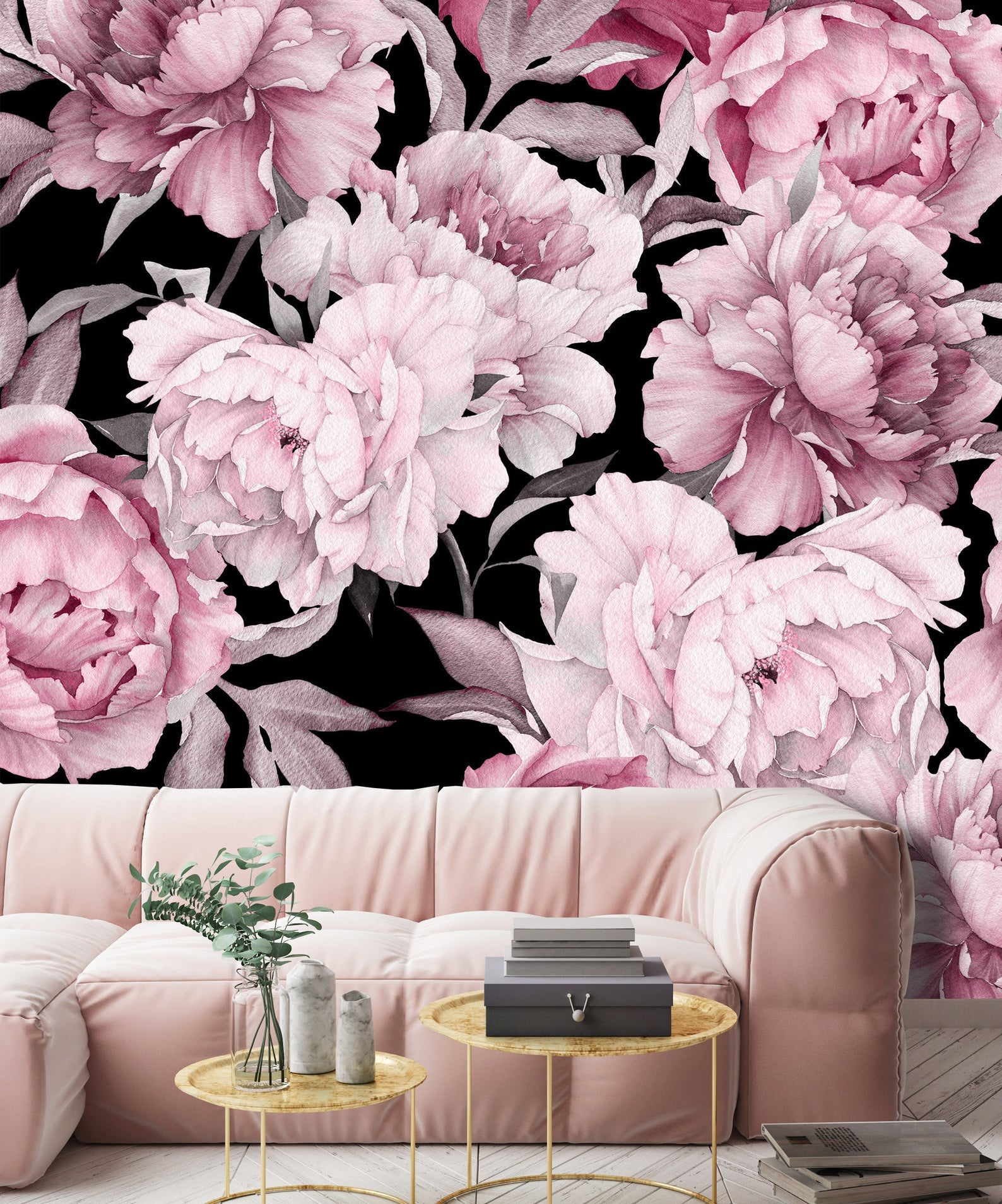 Pink Peonies Flowers with Leaves Removable Wallpaper