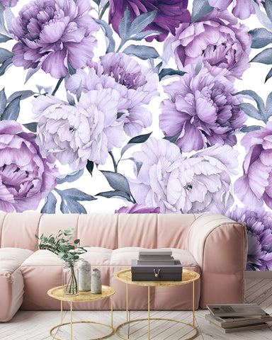 White Purple Flowers Removable Wallpaper