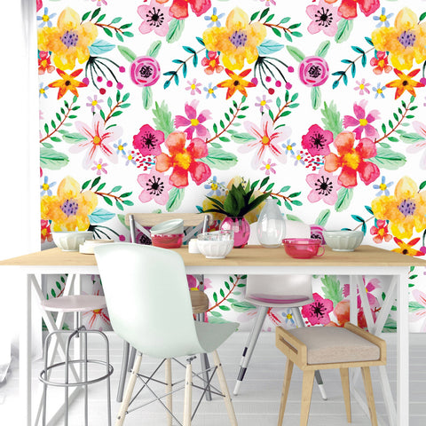 Abstract Watercolor Flowers Removable Wallpaper