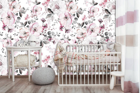Spring Pink Flowers Floral Removable Wallpaper