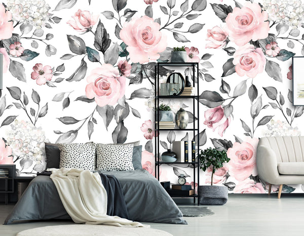 Spring Flowers and Leaves Removable Wallpaper