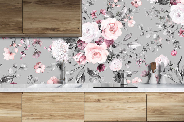 Gray Background Roses Floral Removable Wallpaper