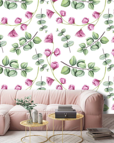 Light Green Leaves Removable Wallpaper