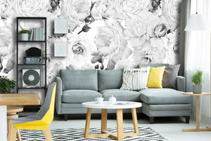 Black & White Roses Removable Wallpaper