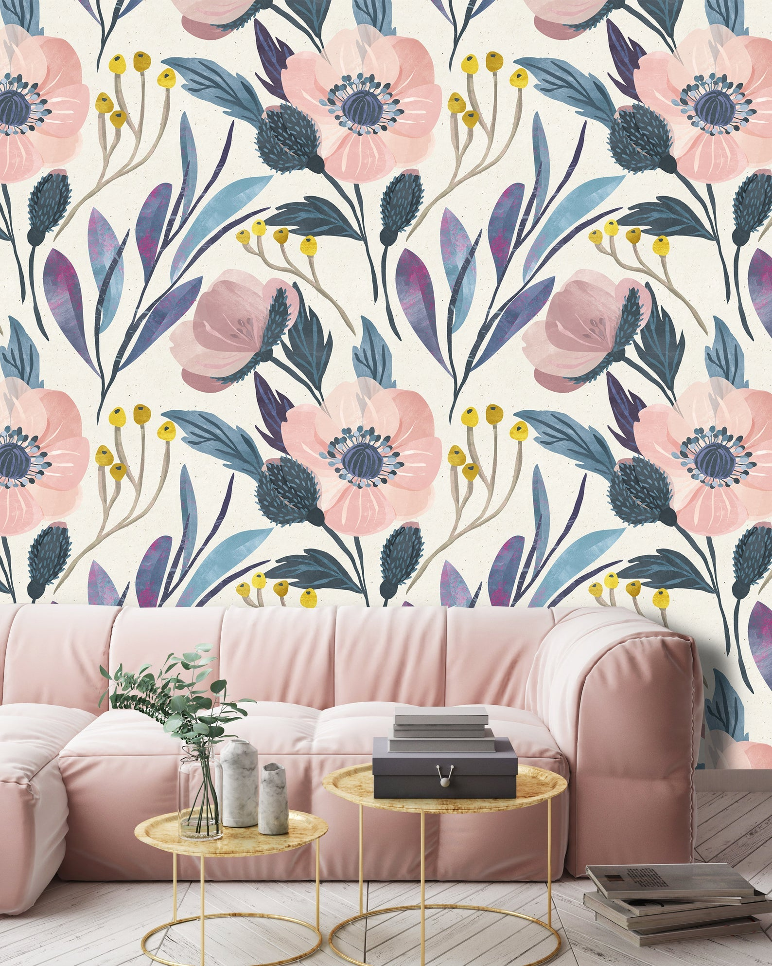 Botanical Pattern Flowers Removable Wallpaper