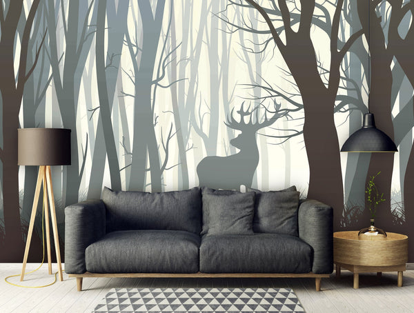 Dark Forest Wild Elk Removable Mural/Wallpaper