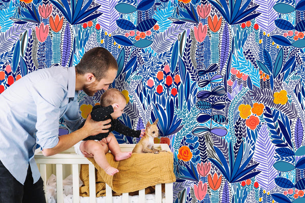 Tropical Blue Flowers Removable Wallpaper