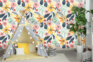 Watercolor Floral Mural Removable Wallpaper