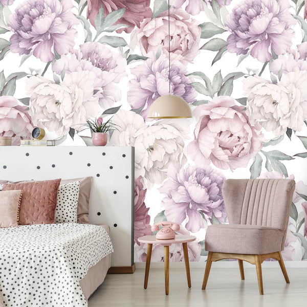 Peony Bouquet Peel and Stick Removable Wallpaper