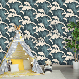 Vintage Ocean Waves Peel and Stick Removable Wallpaper