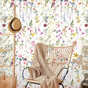 Garden Watercolor Peel and Stick Removable Wallpaper
