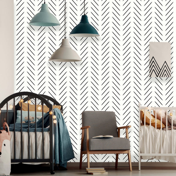 Modern Herringbone Peel and Stick Removable Wallpaper