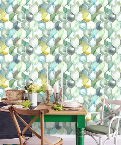 Green Honeycomb Removable Wallpaper