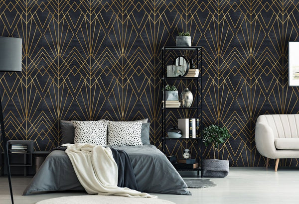 Art Deco Watercolor Geometrical Removable Wallpaper