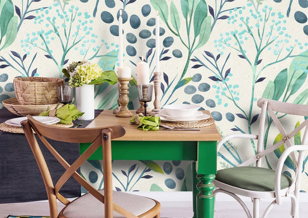 Green Mint Leaves Removable Wallpaper