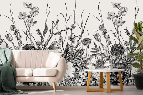 Spring Flowers Leaves Removable Wallpaper