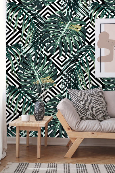 Floral Tropical Geometric Leaves Removable Wallpaper