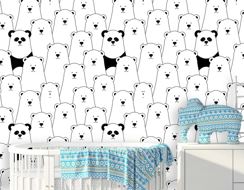 Bears and Panda  Kids Room Removable Wallpaper