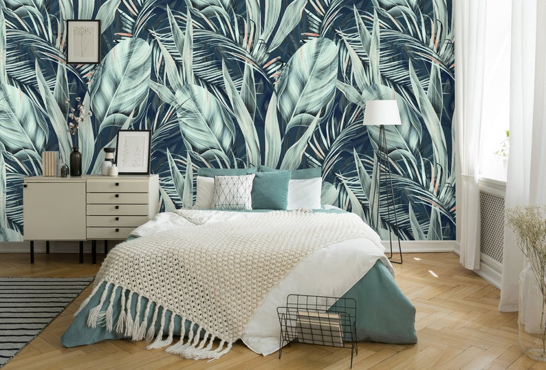 Plant and Leaf Retro Botanical Removable Wallpaper