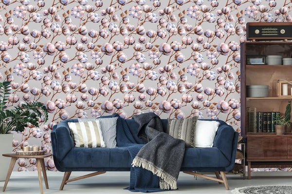 Cotton Watercolor Floral Removable Wallpaper