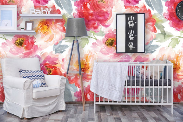 Peonies Mural Floral Removable Wallpaper
