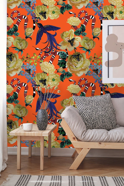Floral Bird Removable Wallpaper
