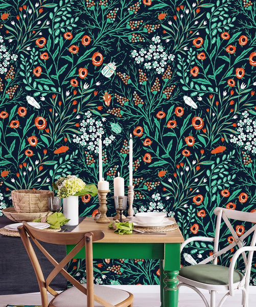 Summer Blooms and Colored Beetles Floral Removable Wallpaper