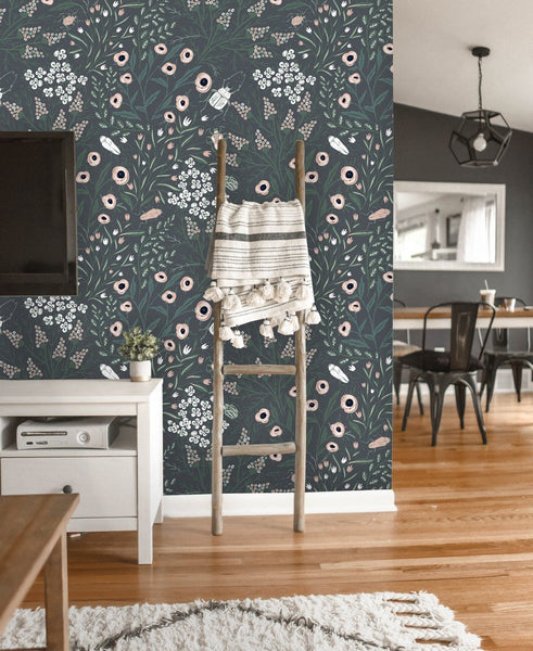 Summer Blooms and Beetles Removable Wallpaper