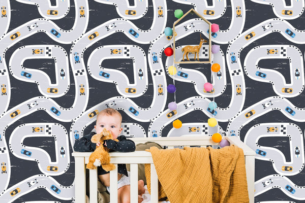 Racing Cars Pattern Removable Wallpaper