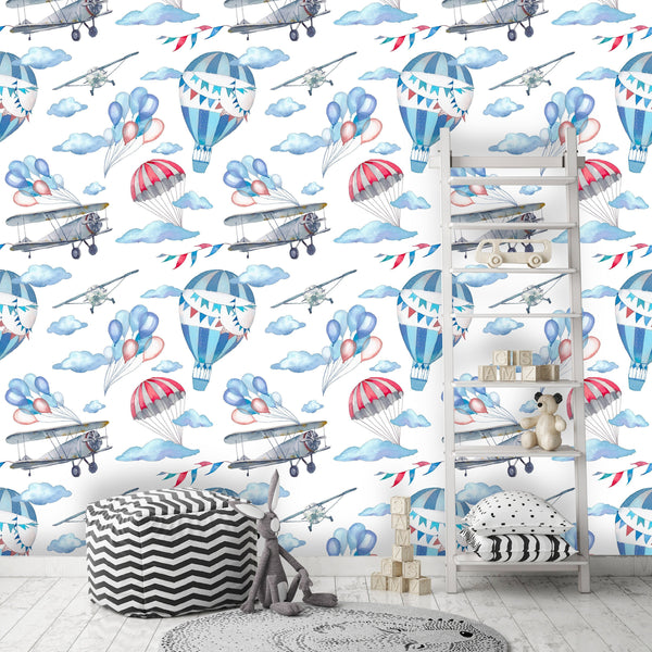 Airplane Balloon Kids Room Removable Wallpaper