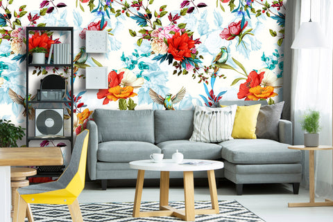 Wild Blossom Humming Birds Removable Wallpaper