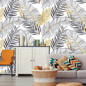 Tropical Banana Gold Leaves Removable Wallpaper