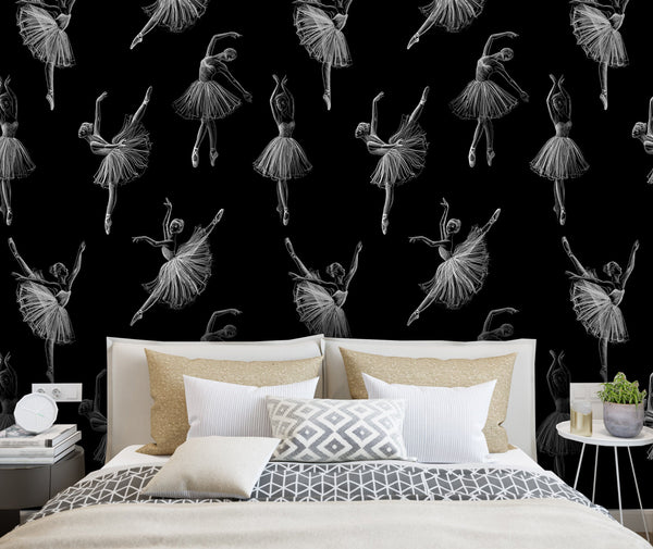 Chalk Drawing Ballerinas Removable Wallpaper