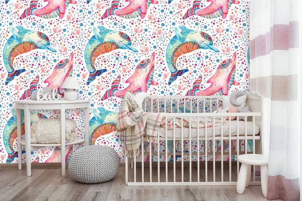 Lovely Dolphins Bubbles Removable Wallpaper
