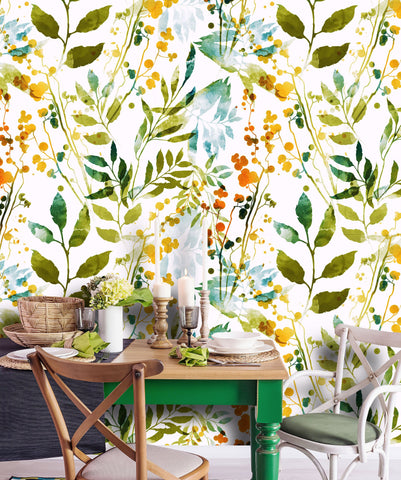 Floral Boho Spring Herbs Removable Wallpaper