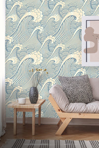 Great Wave Vintage Retro Removable Wallpaper