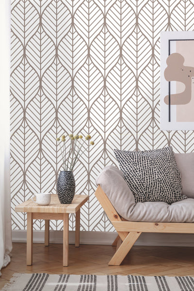Self Adhesive Geometric Leaves Removable Wallpaper