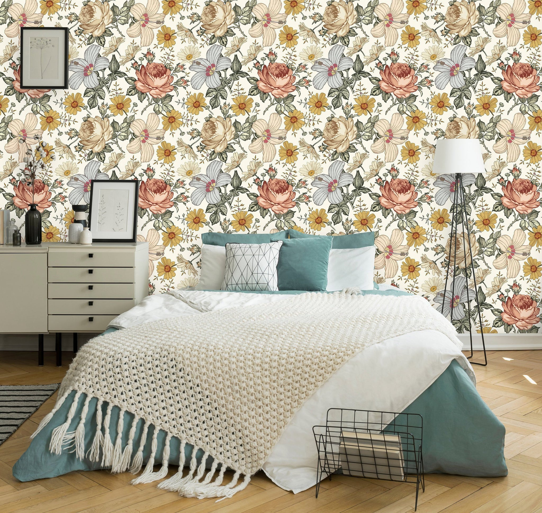 Floral Vintage Peel and Stick Removable Wallpaper