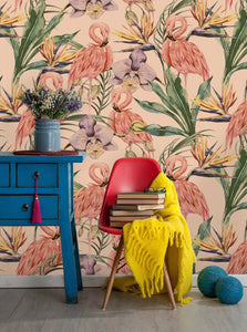 Botanical Tropical Flamingos Removable Wallpaper