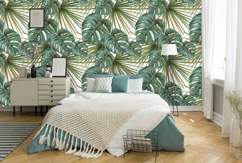Palm and Deliciosa Leaves Tropical Removable Wallpaper
