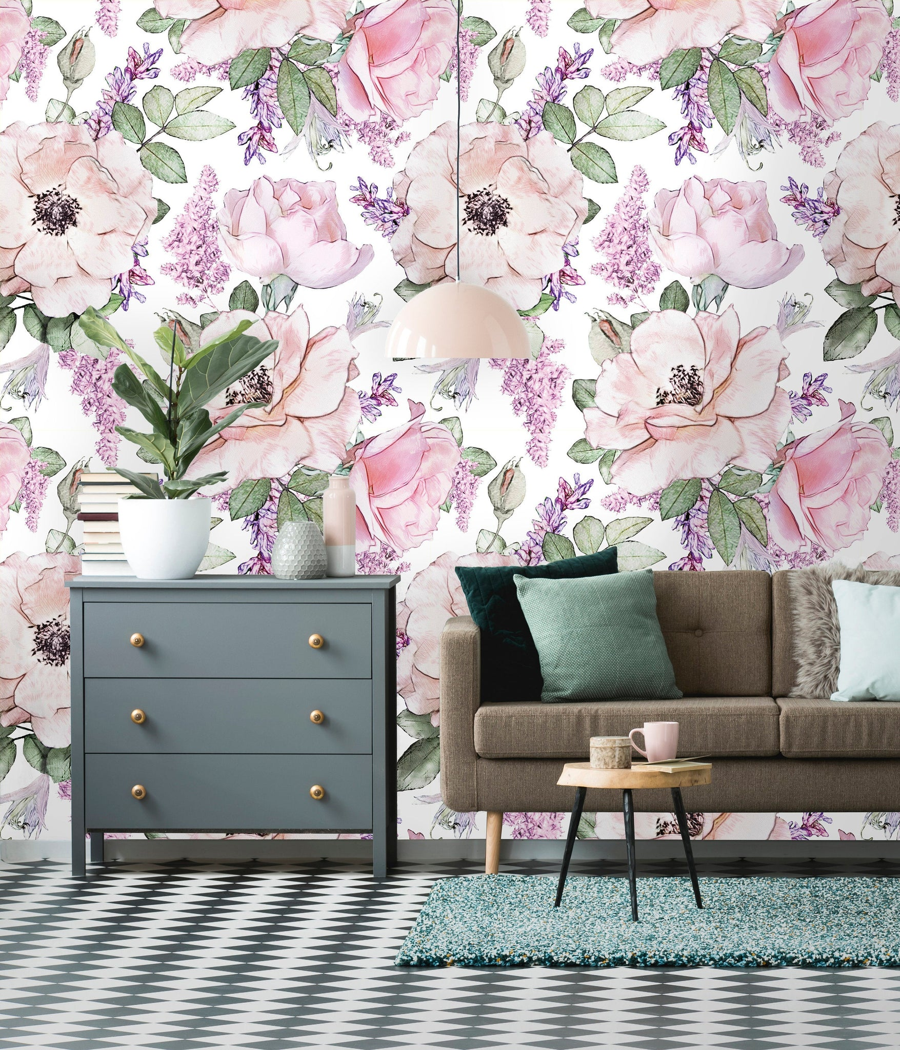 Peonies and Roses Leaves Floral Removable Wallpaper