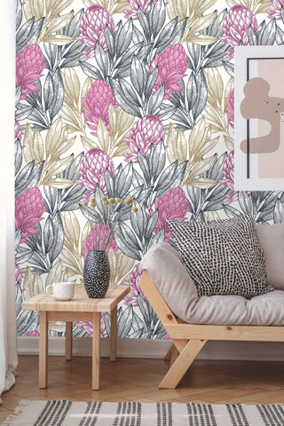 Protea Floral Vintage Removable Wallpaper