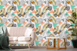 Palm Leaf and Marble Leaves Removable Wallpaper